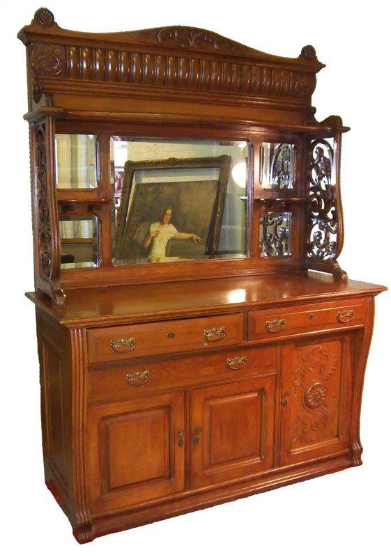 118: Ca. 1890 large quartersawn oak American sideboard