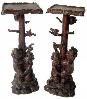 Pair 18th C. Detail Carved Italian Pedestals