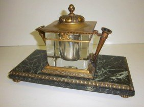 19th C. Bronze, Crystal And Marble Inkwell
