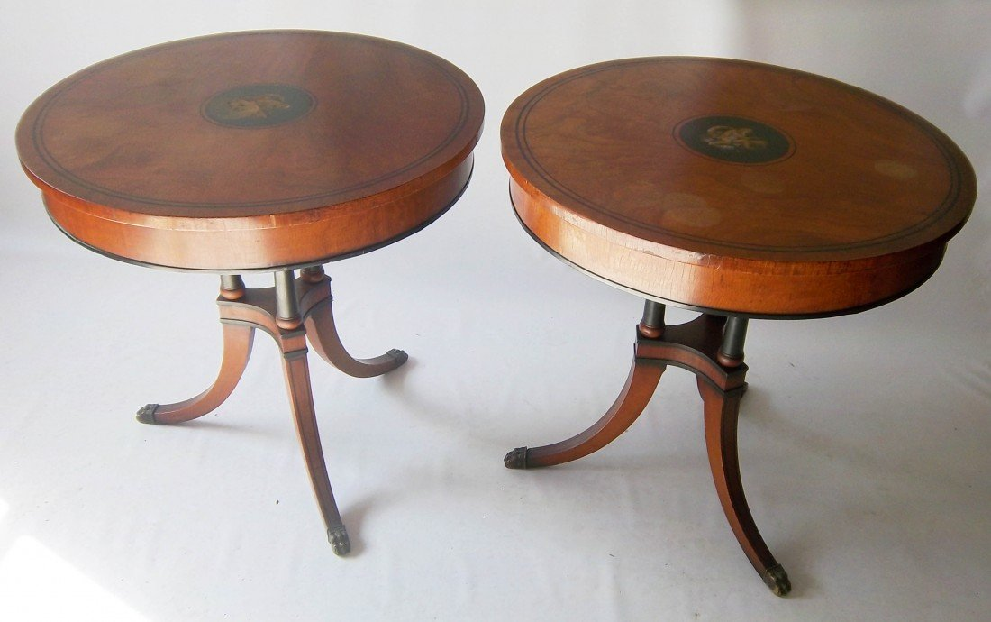 168: Pair of signed Adams style satinwood tables