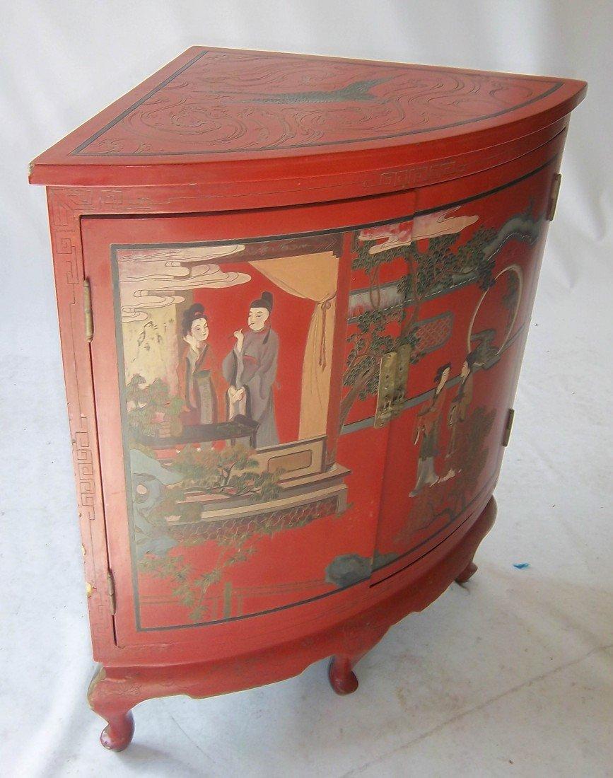 173: Early 20th C. oriental paint dec. corner cabinet