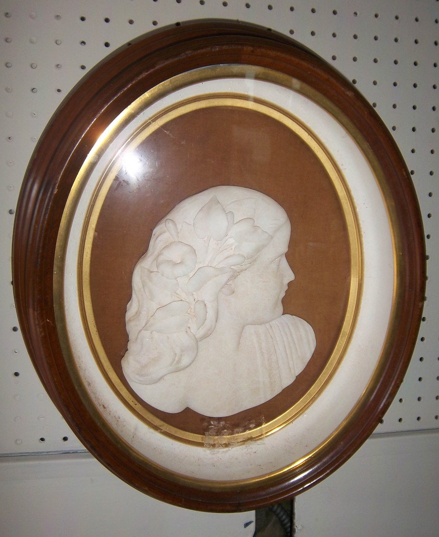 174: 19th C. marble bust of woman in walnut shadowbox
