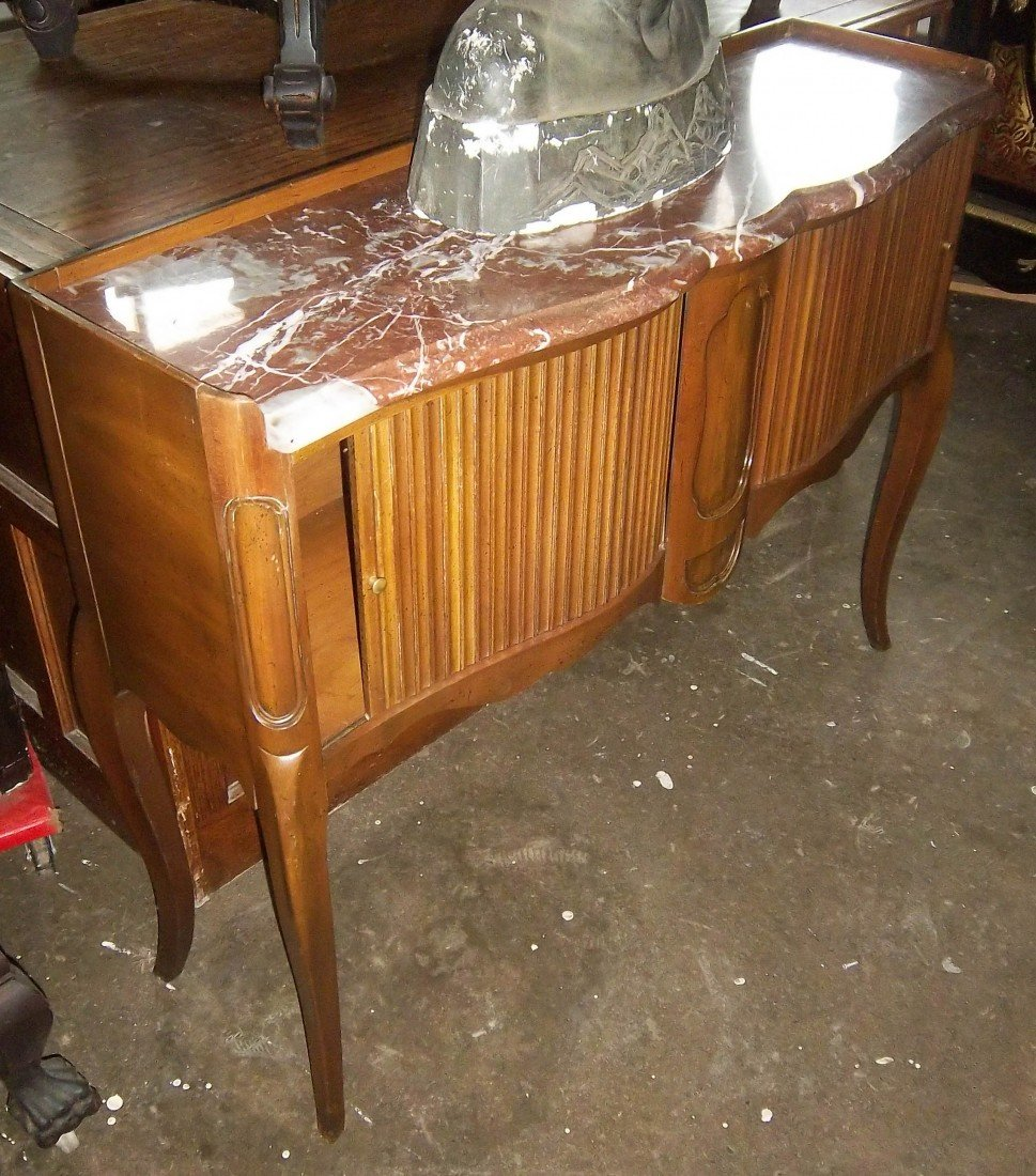 178: Marbletop walnut country french tambour stand