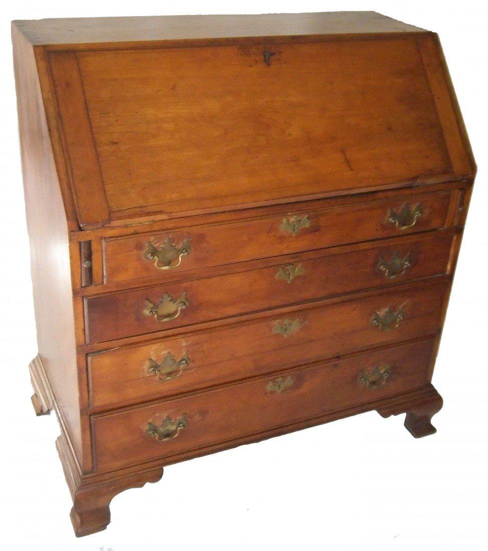 182: 18th C. Am. Chippendale cherry dropfront desk