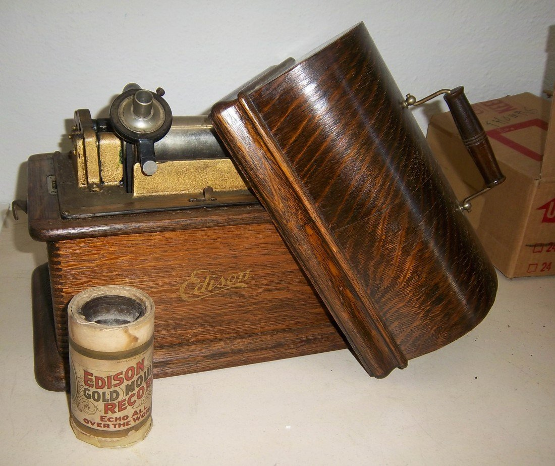 183: Oak Edison with box of records