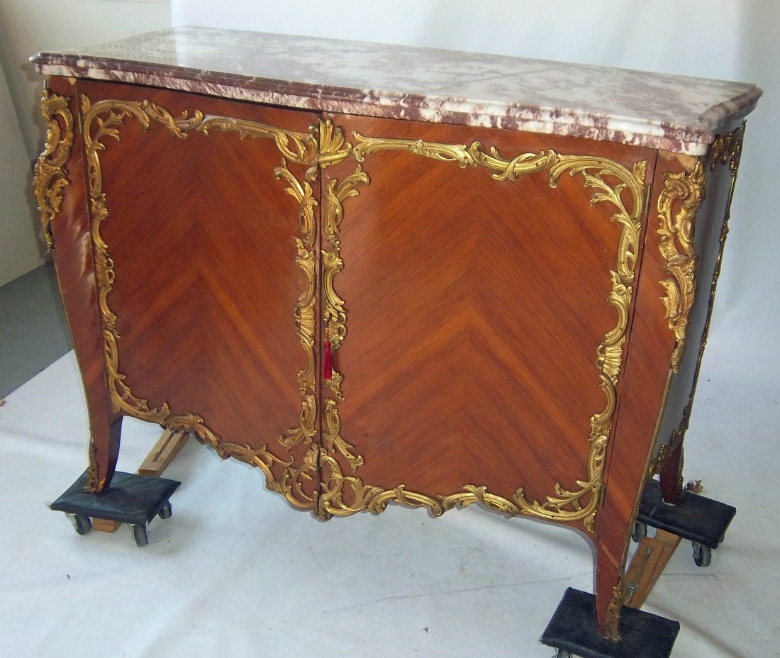 189: 19th C. bronze mounted marbletop french commode