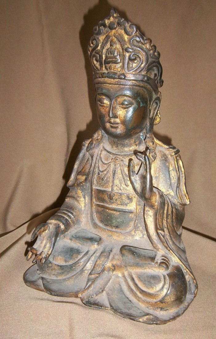 259: 17th C. gilt bronze Buddha with markings