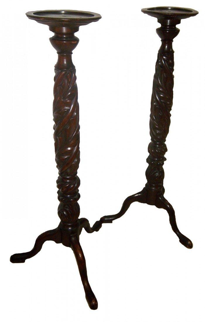 5: Pr. Acanthus carved mahogany pedestals