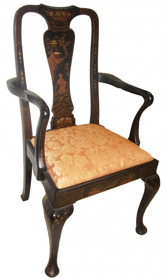 7: Black laquered chinoiserie armchair