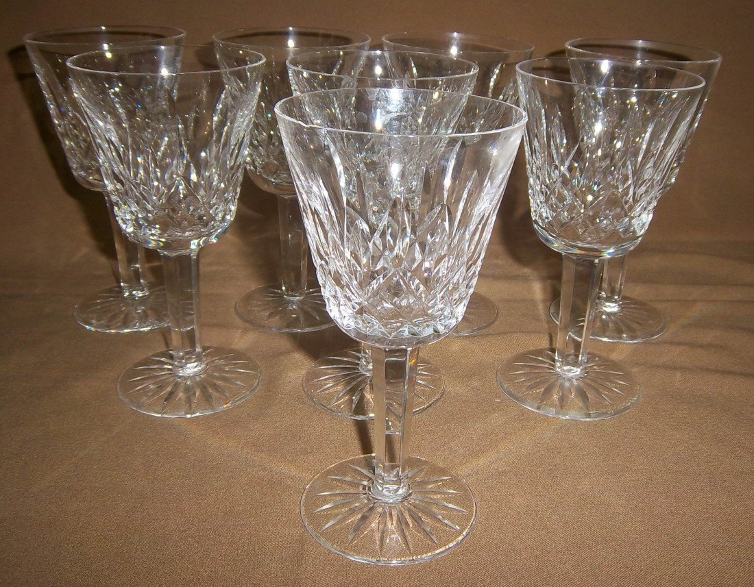 10: Set of 8 Waterford Crystal Lismore glasses