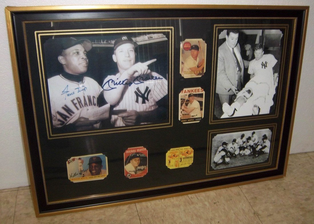 15A: Print of Mickey Mantle & Willie Mays memorabilia