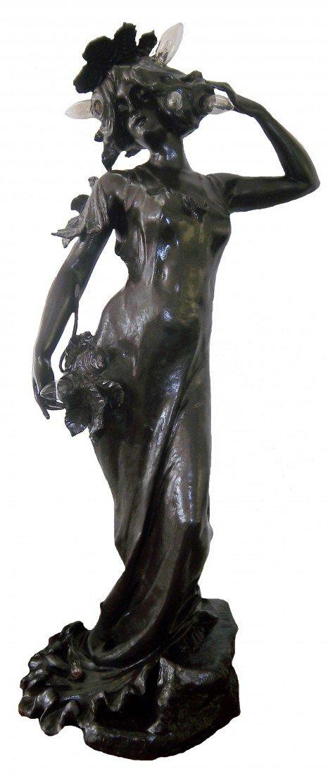 307: French Art Nouveau signed Lucien Alliot lamp