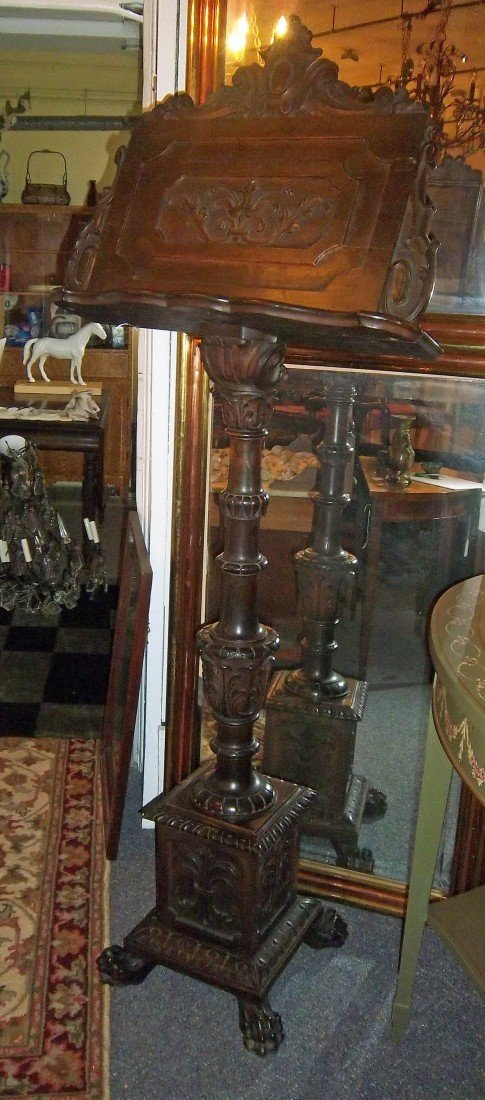 1: 19th C. detail carved walnut italian lectern