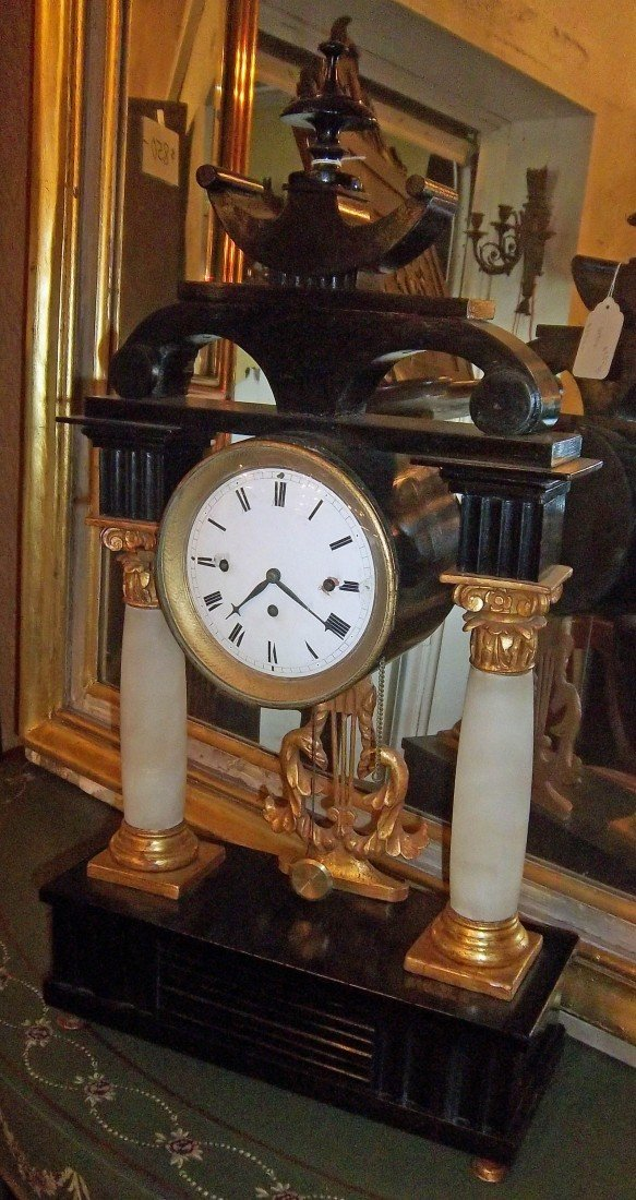 4: Ea. 19th C. period paint decorated column clock