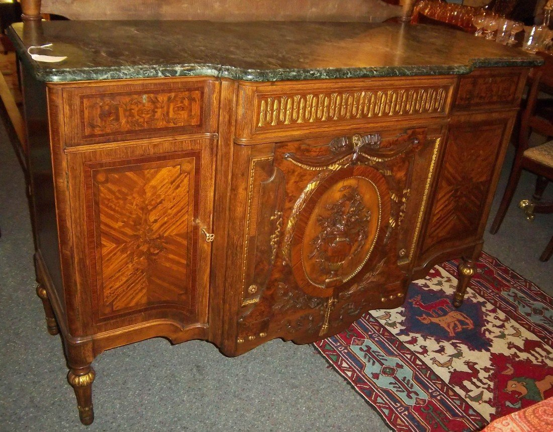 8: Mid 19th C. burled walnut marbletop French server