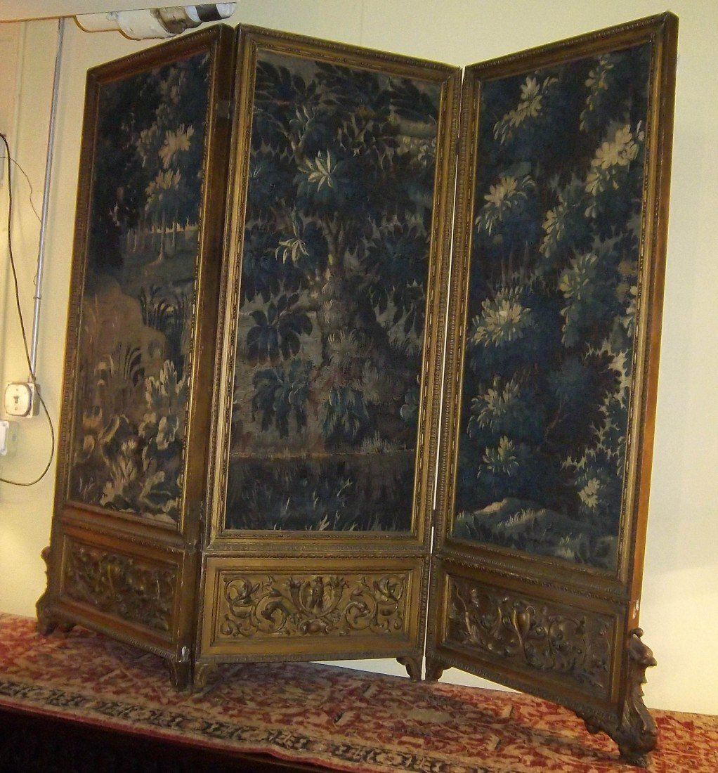12: Period 18th C. 3 part giltwood screen