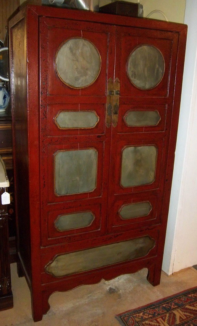 13: 19th C. 2 door Chinese paint decorated cupboard