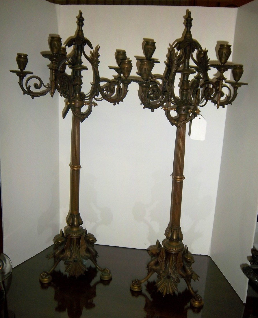 14: Pair of Period 19th C. figural bronze candelabras