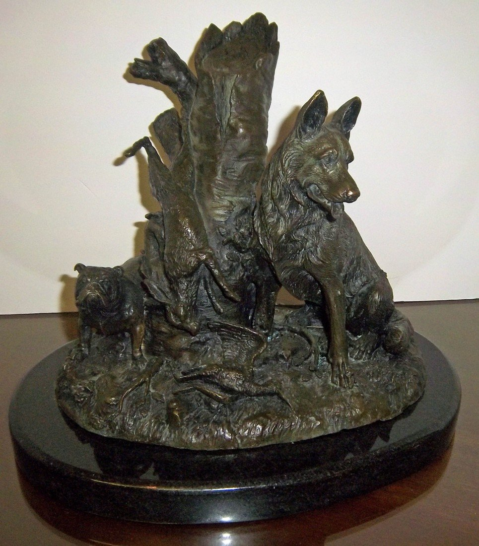 15: C1900 bronze of dogs hunting signed Masier