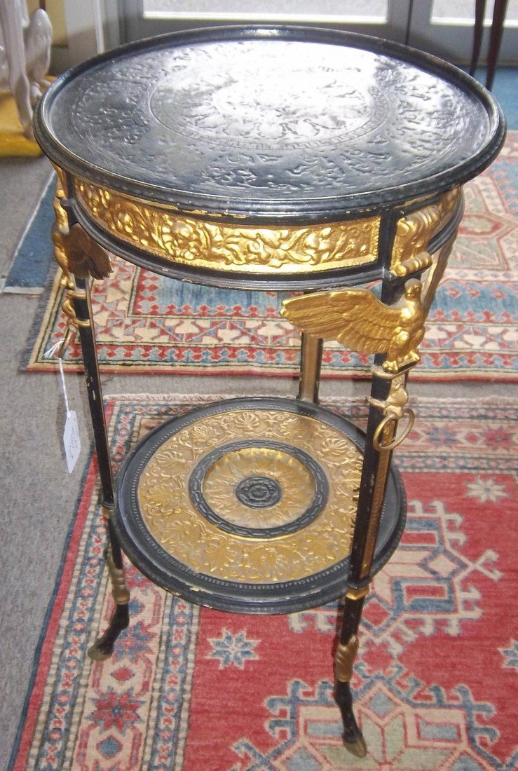 17: 18th C. Egyptian Revival iron and painted stand