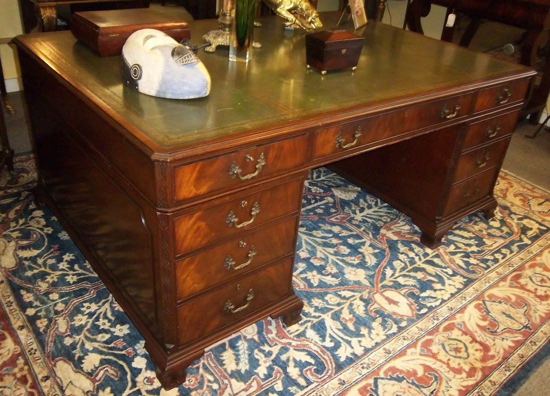 25: C1900 burled mahogany English partners desk