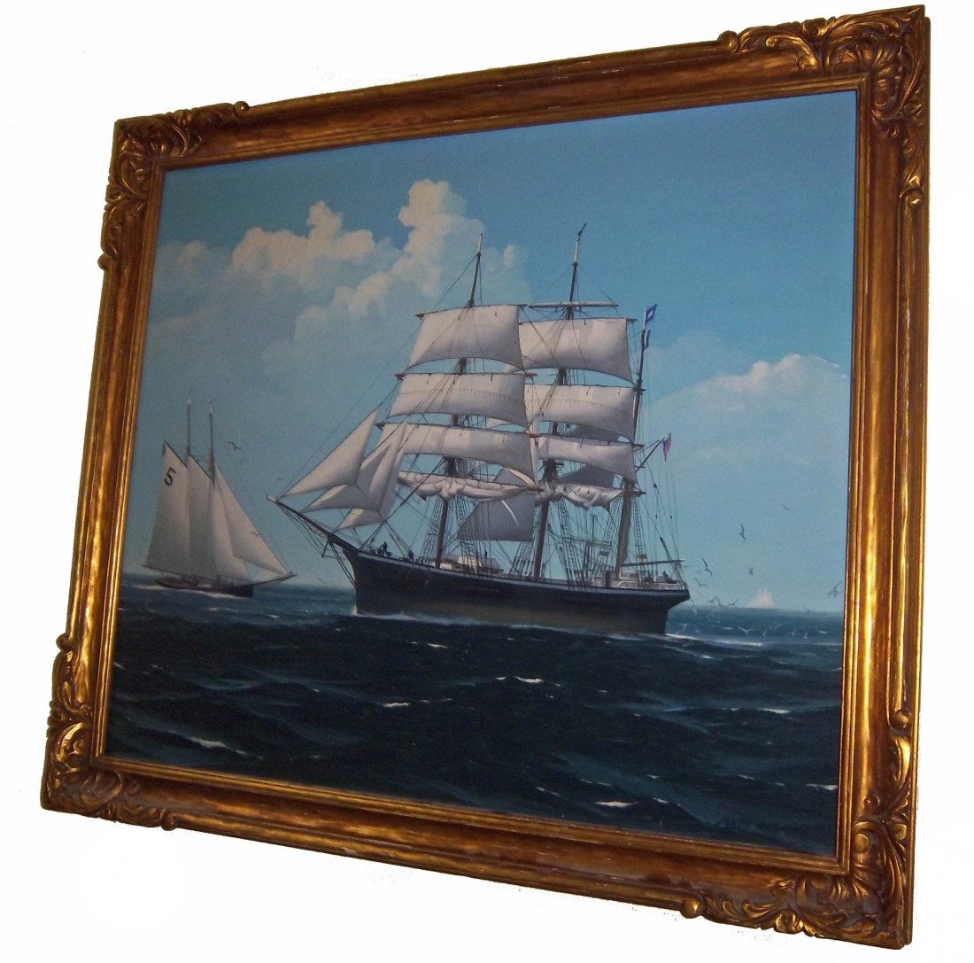 31: Signed Hunter Wood oil on canvas of ships