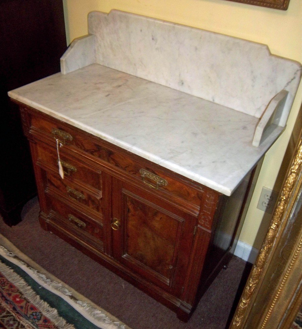 32: 19th C. Aesthetic American marbletop commode