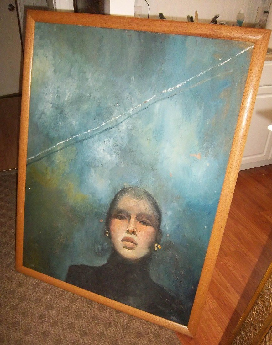 38: Oil on canvas of woman signed Gail Jeffer