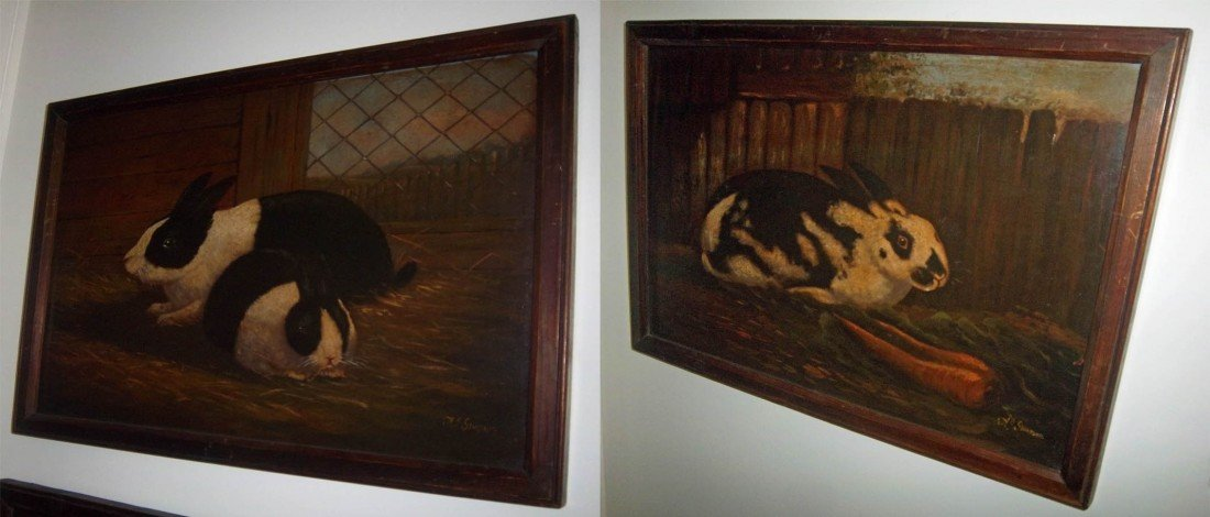 39: Mid 19th C. painting of bunnies signed Simpson
