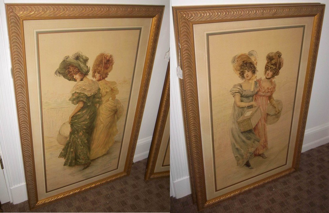 41: Pair of 19th C. French handcolored mezotints