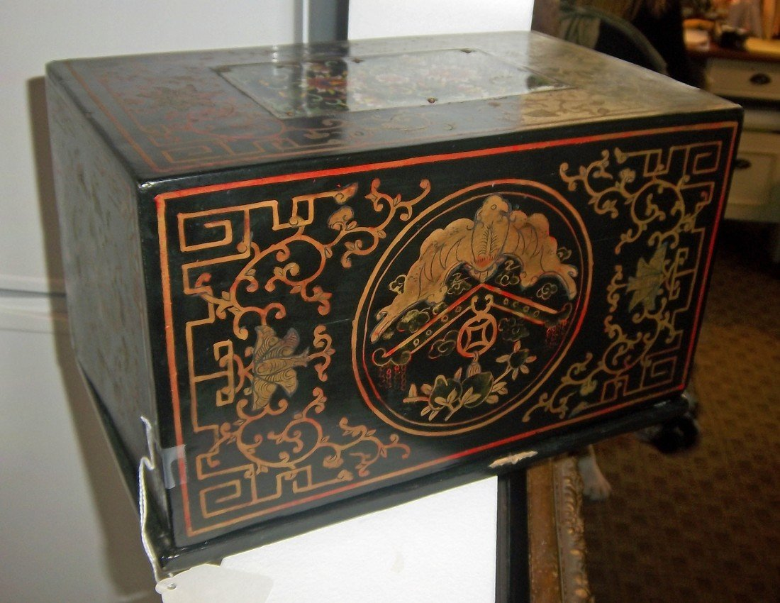 43: 19th C. Chinese box with Cloisonne plaque on top