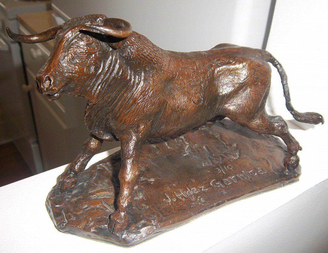 48: 19th C. Spanish bronze bull signed Gernica