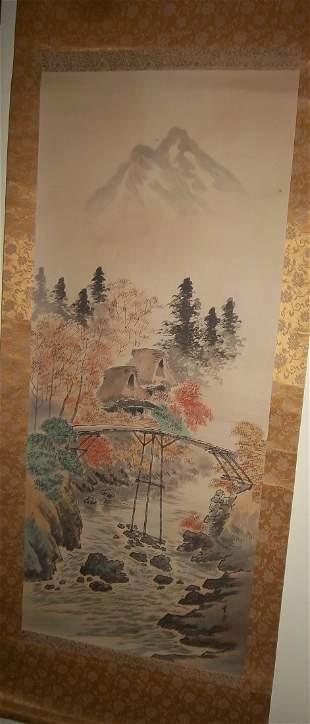 Oriental watercolor scroll