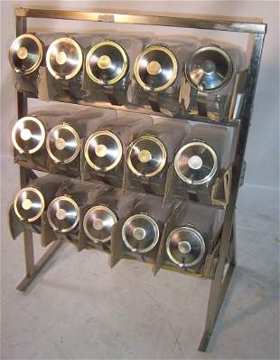 Art Deco style chrome & glass candy display