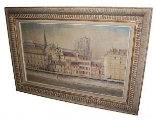 Early 20th C. o/c Notre Dame sgd. MacKinnon