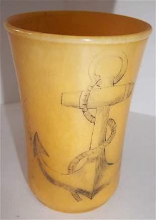 Carved bone cup