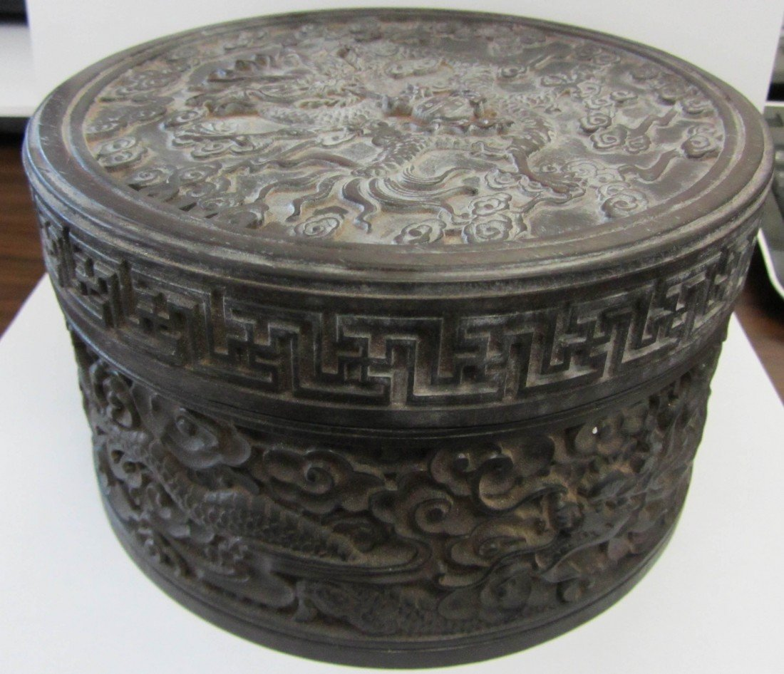 10: Antique Zitan carved dragon box