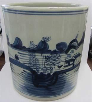 18th C. Blue and White porcelain brush pot