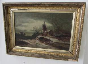 19th C. Oil on Canvas Cathedral Landscape