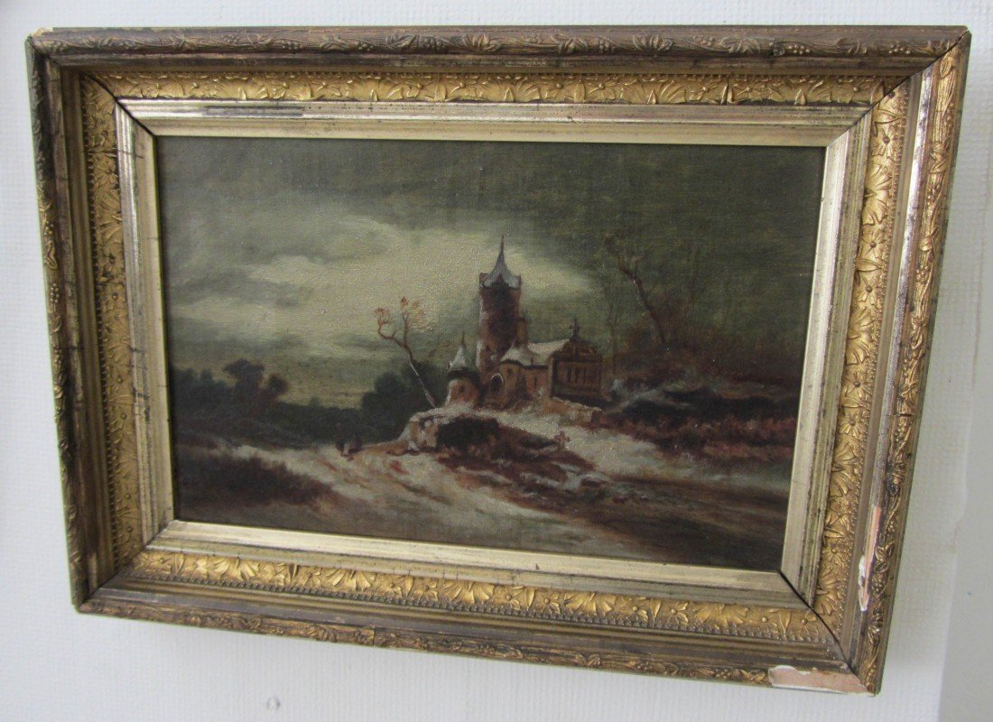 13: 19th C. Oil on Canvas Cathedral Landscape