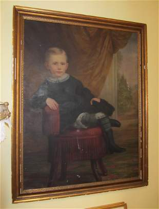 19th C. Oil on canvas of Child