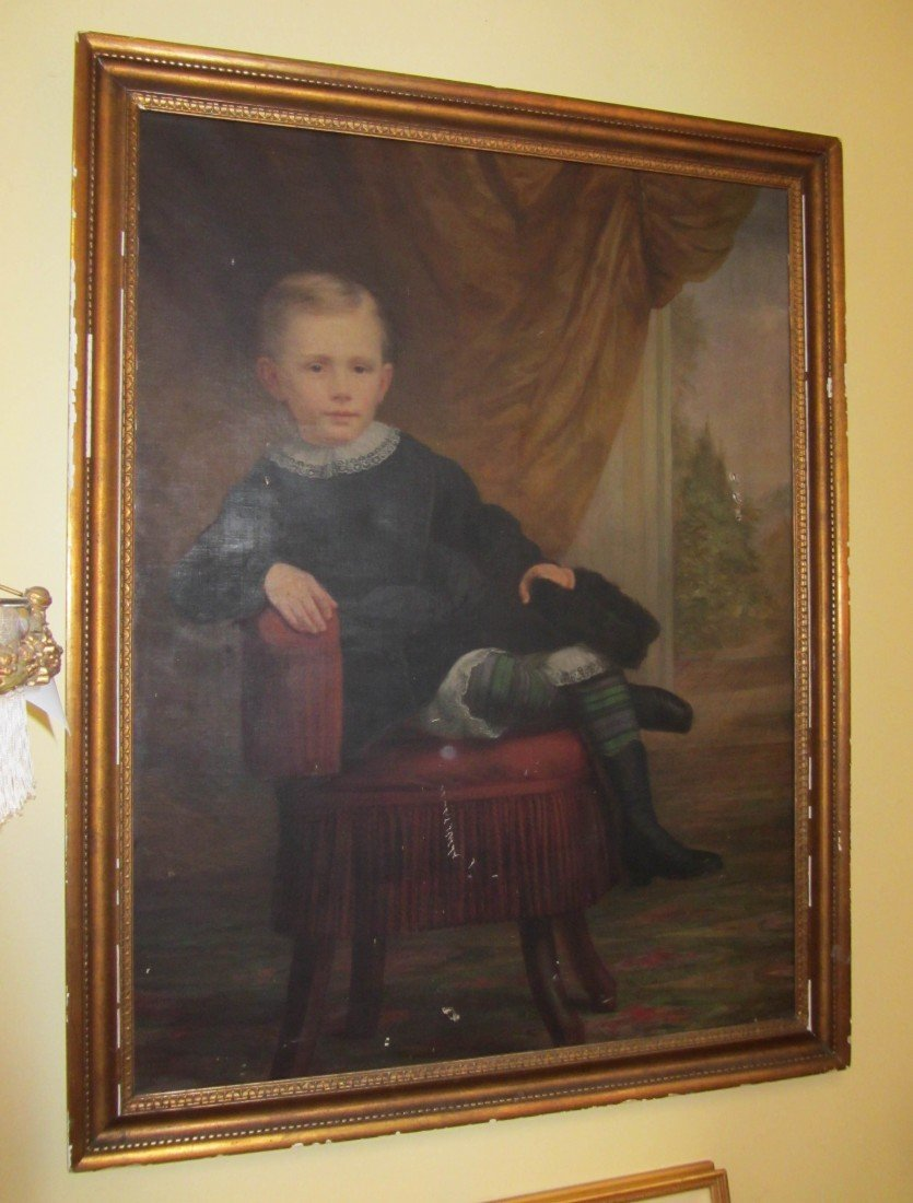 16: 19th C. Oil on canvas of Child