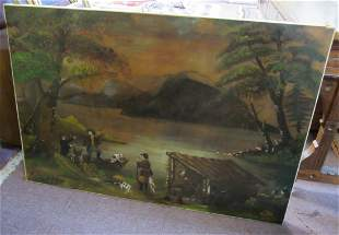 19th C. Oil on canvas of hunters by lake