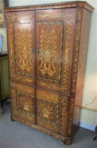 20th C. Dutch Marquetry 4 door cabinet