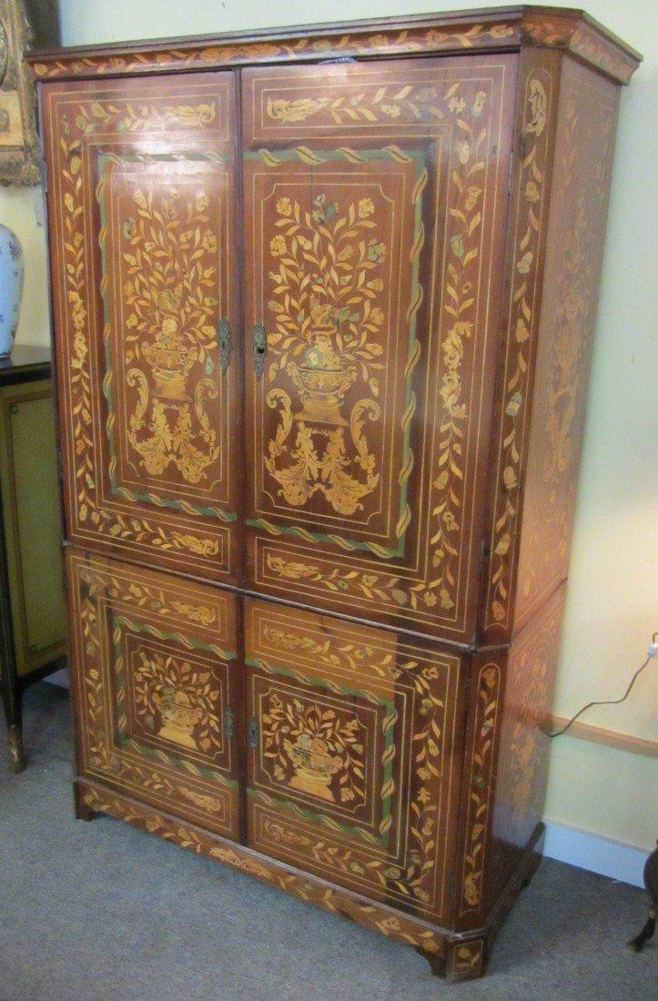 20: 20th C. Dutch Marquetry 4 door cabinet