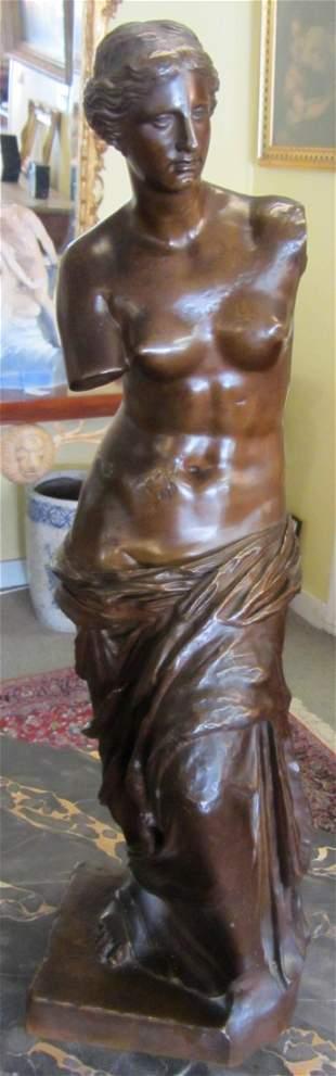 19th C. Large bronze Venus Di Milo statue