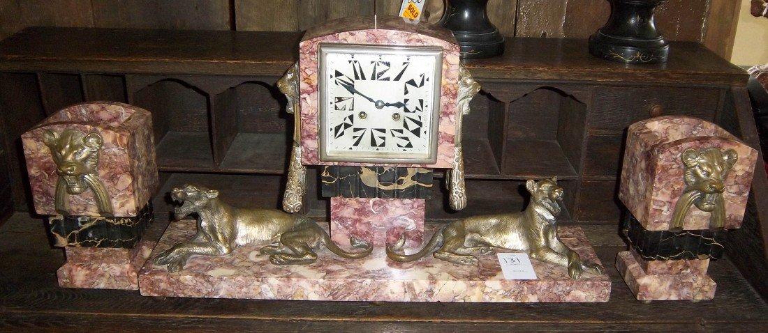 131: Period Art Deco 3 pc. bronze & marble clock set