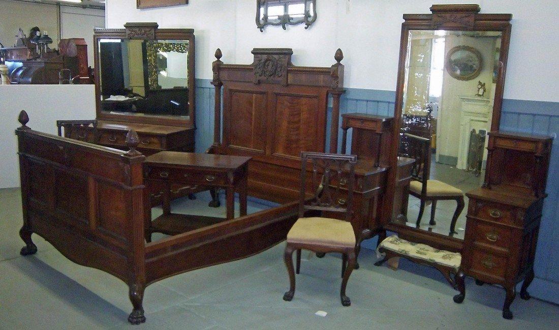 135: 19th C. 6 piece cherry bedroom set Herter style