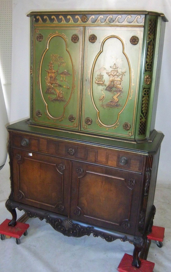 142: C1900 Berkey and Gay paint decorated cupboard