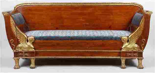 68: Ca. 1900 gilt wood Egyptian Revival sofa